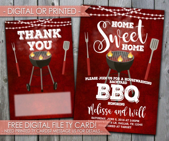 Backyard BBQ Housewarming Party Invitation Home Sweet