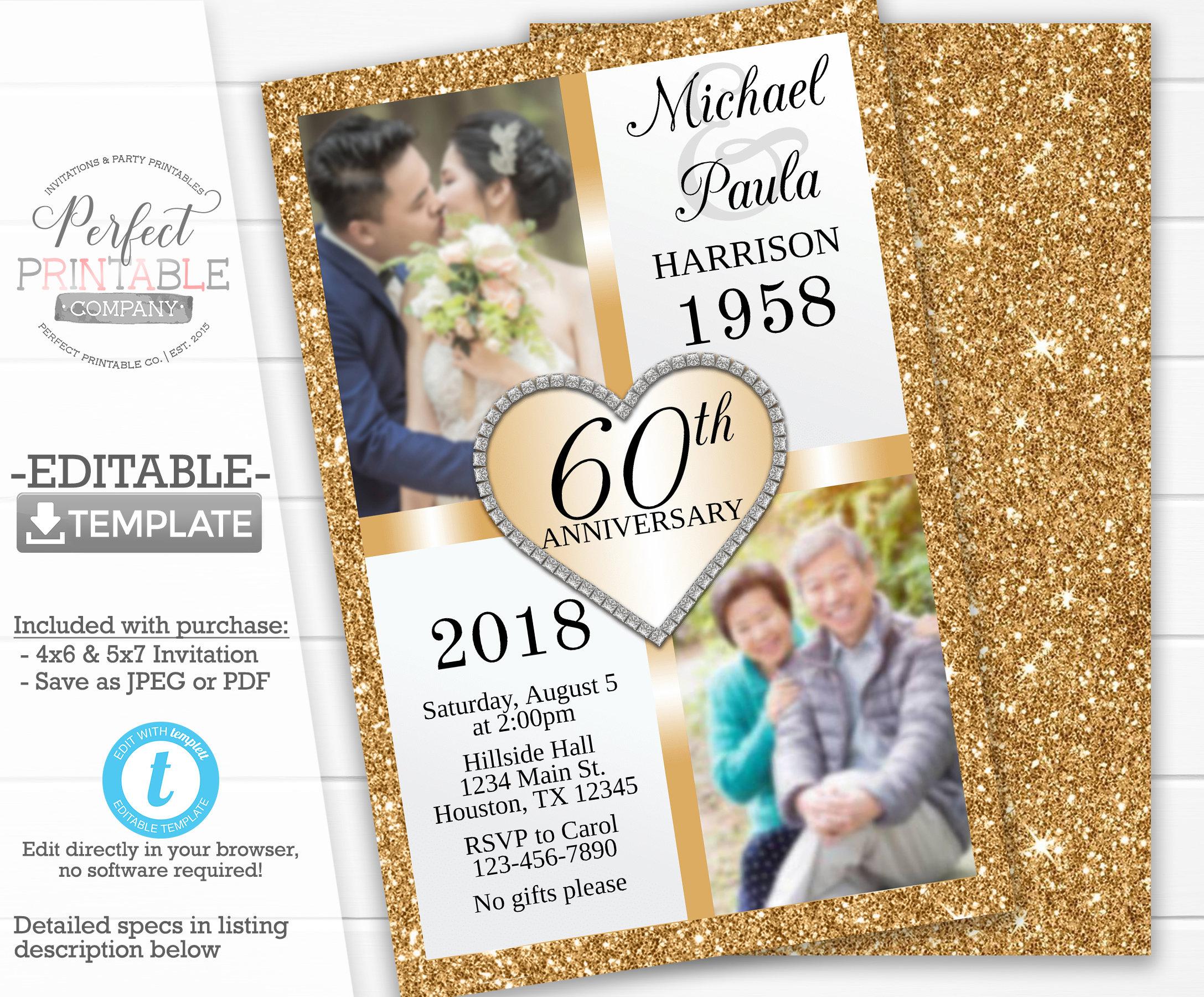50th Anniversary Invitation Gold Wedding Anniversary Invitation Golden Anniversary Invitation 30th 40th 60th Editable Templett 316