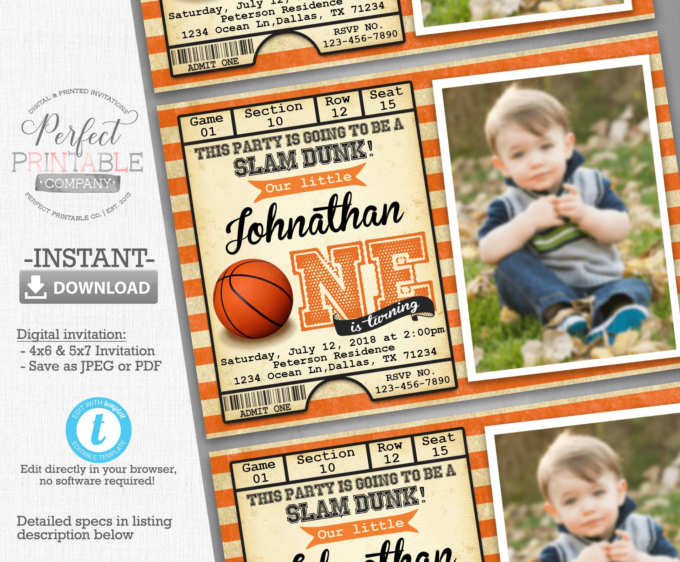Basketball Birthday Party Invitation Basketball Ticket Etsy