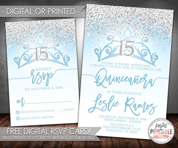 Blue Quinceanera Invitation Birthday