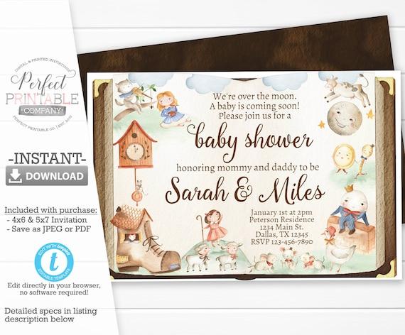 Mother Goose Baby Shower Invitation Nursery Rhyme Baby Shower Etsy