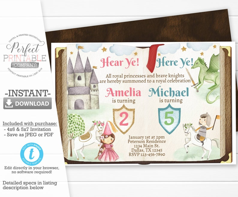 Princess And Knight Birthday Invitation Party Invite Editable Template 893