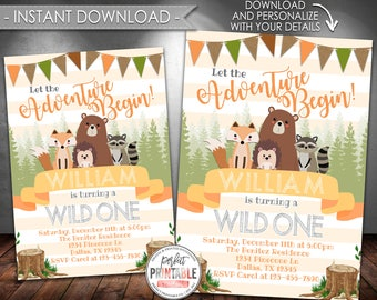 Woodland Invitation, Woodland Birthday Invitation, Woodland Animal Birthday Invitation, Let the Adventure Begin, Boy, Instant Download #539