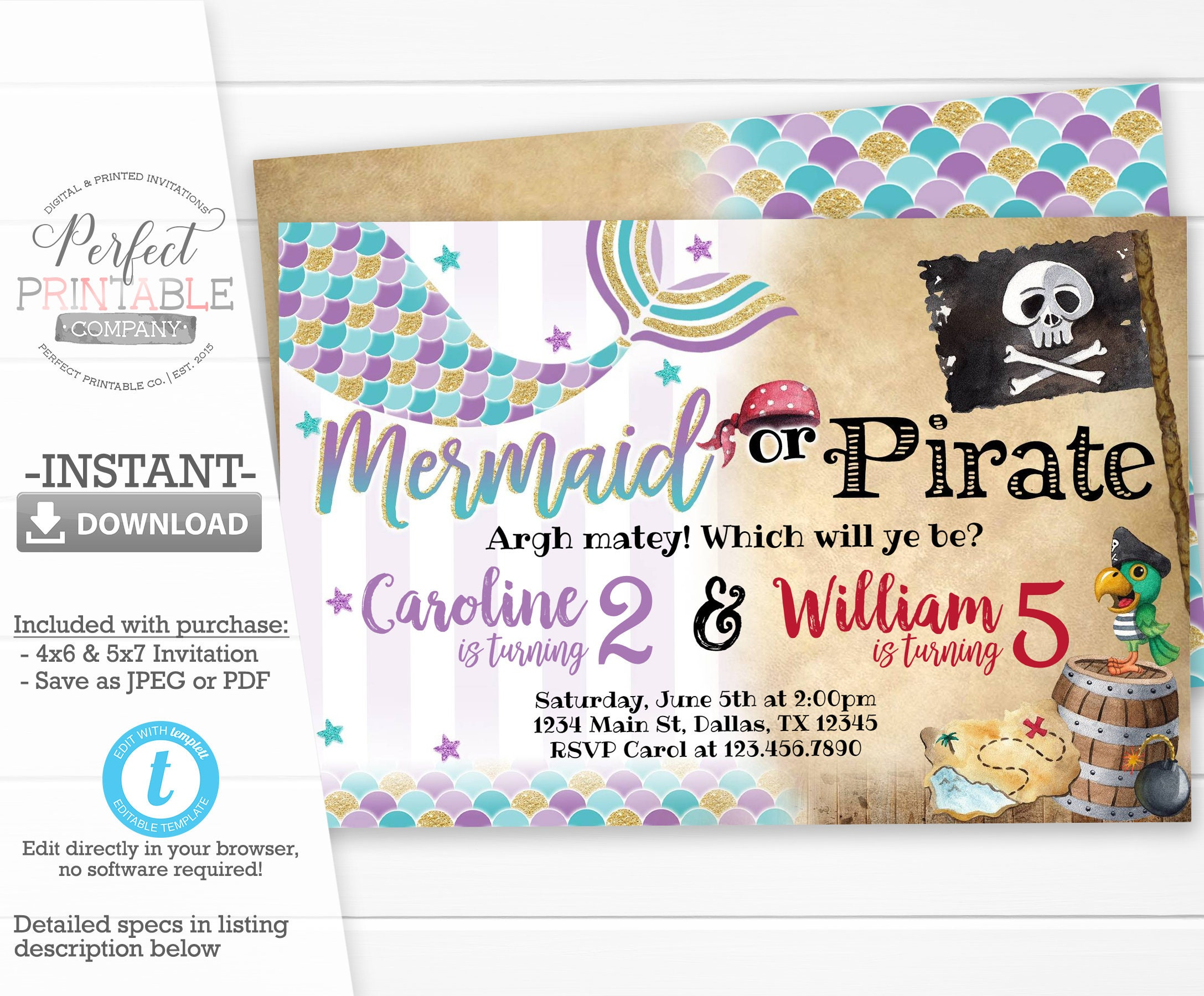 Mermaid Or Pirate Invitation Birthday Party Invite Sibling Twins Editable Template 501
