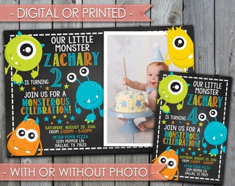 Monster Invitation, Monster Invite, Monster Birthday Invitation, Monster Birthday Invite, Chalkboard, Boy, Digital File #301
