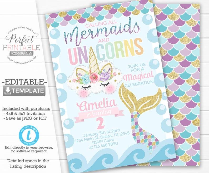 Mermaid Unicorn Invitation Birthday Party