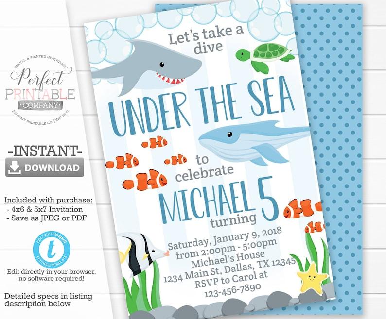 Under The Sea Birthday Invitation Animal