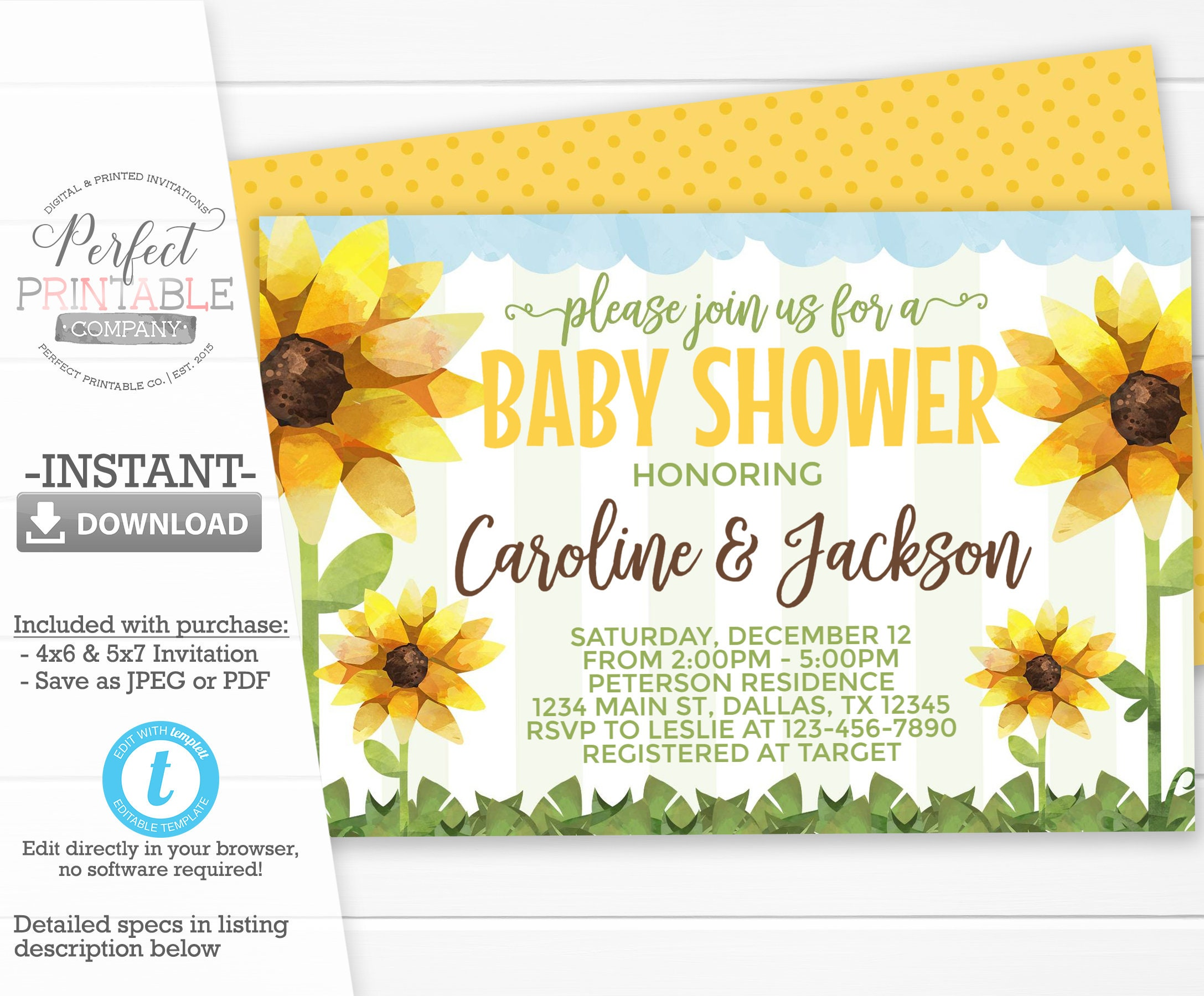 Sunflower Baby Shower Invitation Sunflower Invite Sunflower Etsy