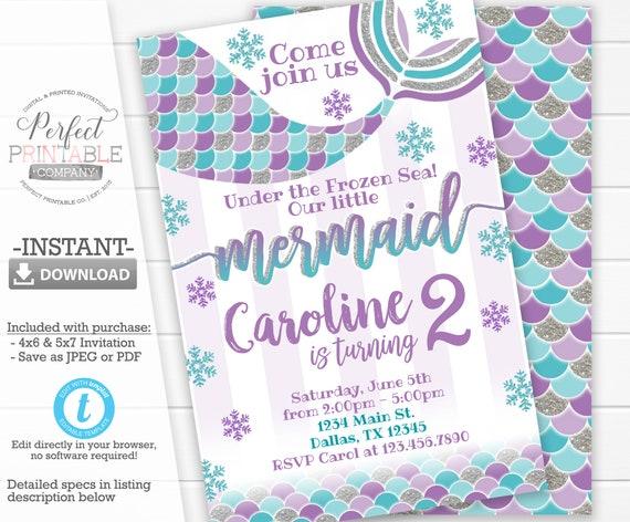 Winter Mermaid Invitation Mermaid Birthday Party Invitation Etsy