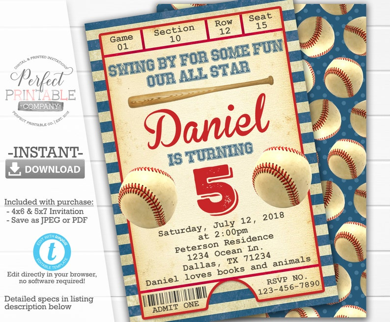 Vintage Baseball Invitation Birthday