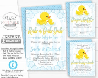 Duck Baby Shower Invitation Package, Set, Kit, Bundle, Rubber Ducky, Blue and Yellow, Book Request, Diaper Raffle, Editable Template #591