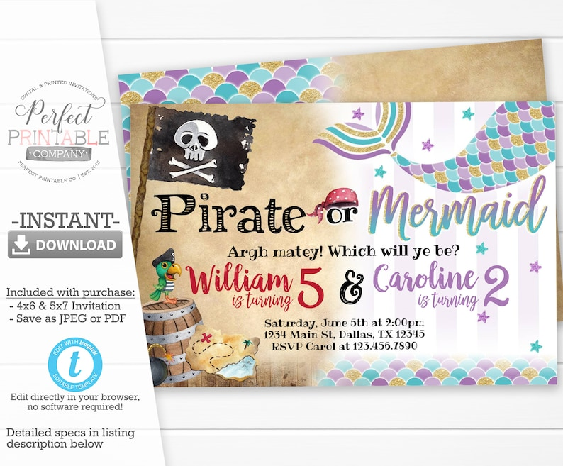 Pirate Or Mermaid Invitation Birthday Party Invite Sibling Twins Editable Template 675