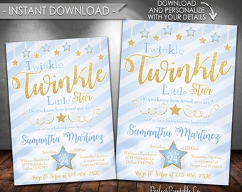 Twinkle Twinkle Little Star Baby Shower Invitation, Blue and Gold Glitter, Its a Boy, Instant Download, Editable PDF #405