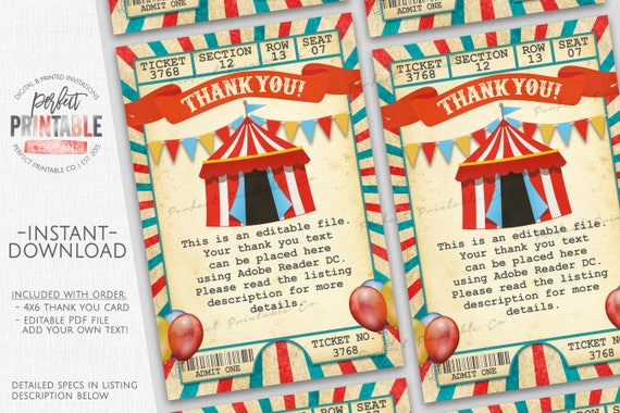 Carnival Thank You Card Circus Thank You Card Circus Etsy