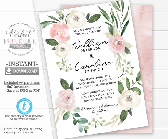 Printable Flower Wedding Invitations Blush Floral Wedding Invitation Set Do-It-Yourself Romantic Pink Peonies Roses Angela