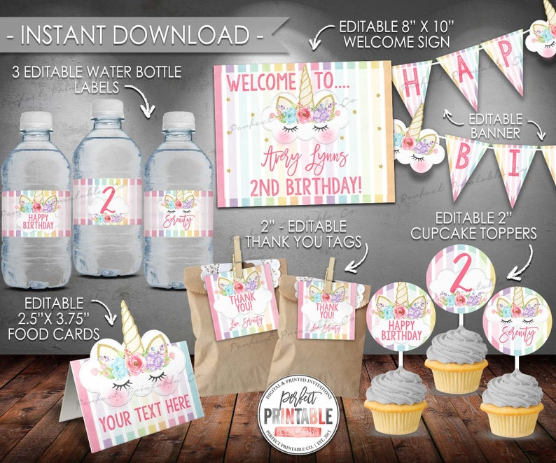 Unicorn Birthday Decorations Party Package