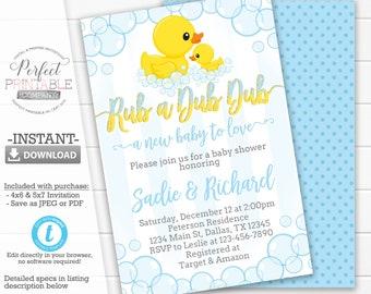 Duck Baby Shower Invitation, Rubber Duck Invitation, Duck Baby Shower Invite, Ducky, Blue and Yellow, Rub a Dub Dub, Editable Template #591