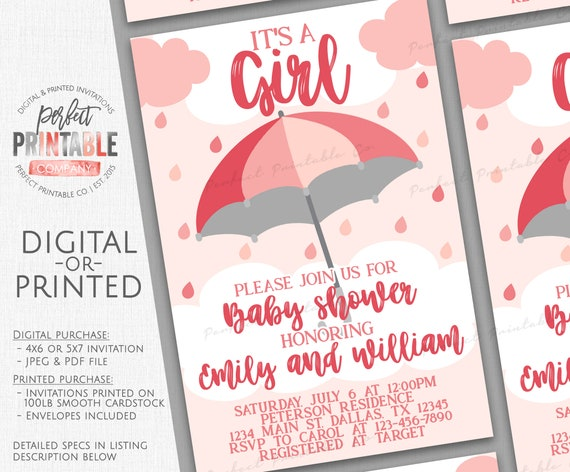 pink umbrella baby shower invitation umbrella baby sprinkle etsy