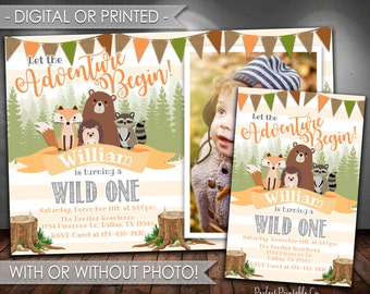 Woodland Invitation, Woodland Birthday Invitation, Woodland Animal Birthday Invitation, Let the Adventure Begin, Boy Birthday, #539