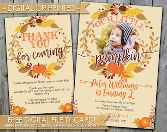 Our Little Pumpkin Birthday Invitation, Boy Pumpkin Patch Invitations, Pumpkin Birthday Party Invite, Fall Invite, Autumn, 1st Birthday #465