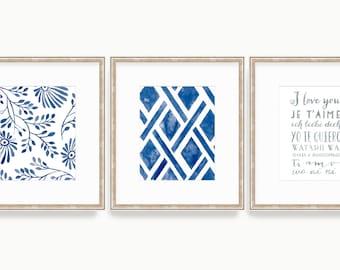 Set of 3 Prints - SMc. Originals - watercolor print, affordable, art, fern, nature, series, organic, home decor, navy, rustic, charming