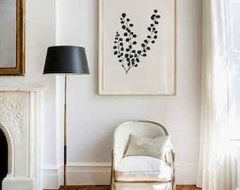Pressed Mimosa - SMc. Originals, watercolor painting, floral, modern, original artwork, silhouette, black and white art, deckled edge
