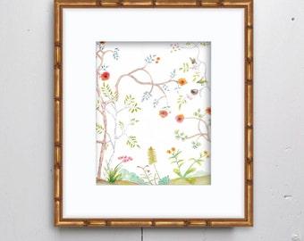 Chinoiserie Right Watercolor Print - SMc. Originals, watercolor painting, nursery decor, nursery art, nature painting, chinoiserie painting