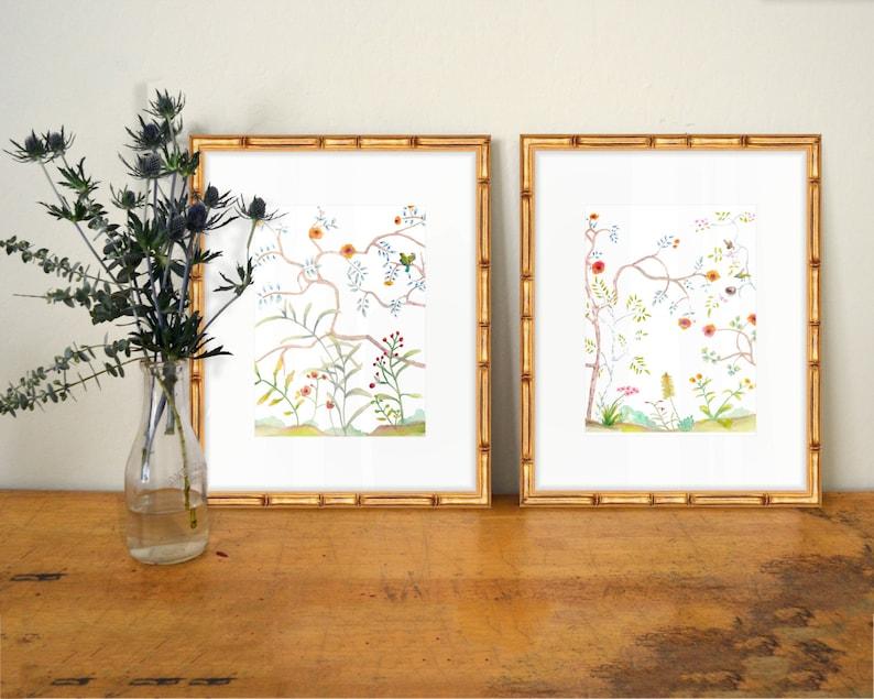 Set of 2 Chinoiserie Prints  SMc. Originals  watercolor image 0