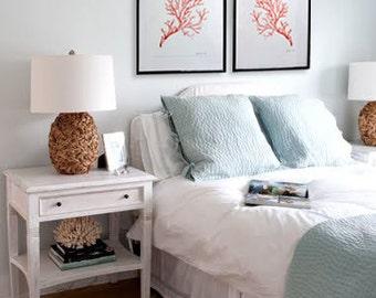 Set of 2 Coral Watercolor Prints - SMc. Originals - nautical, ocean, beach, affordable, art, home decor, shabby chic, classic, modern