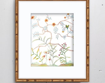 Chinoiserie Left Watercolor Print - SMc. Originals, watercolor painting, nursery decor, nursery art, nature painting, chinoiserie painting