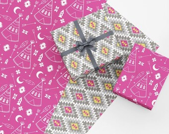 b0b0bf7be6b6 Raspberry Tribal Boho Wrapping Paper Set - Tribal Gift Wrap - Southwestern Wrapping  Paper - Boho Gift Wrap - Masculine Wrapping Paper