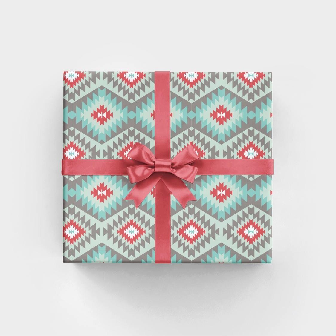 Christmas Wrapping Paper with Tribal Design Zuni Dakota | Etsy
