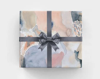 The Baker Wrapping Paper Sheets - WS1162 - Feminine Hand Painted Watercolor Abstract Gift Wrap - Rose Quartz - Serenity - Pantone Inspired
