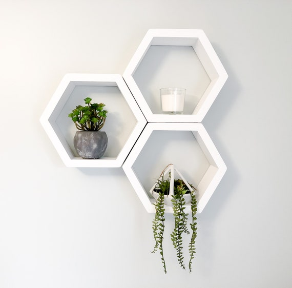 SUMNACON 3pcs Metal Hexagonales Flotantes Estantes Blanco