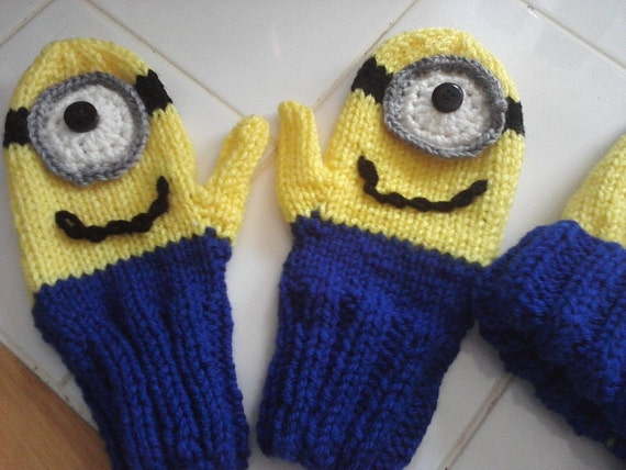 Pattern 2 Needle Minion Inspired Knitted Mittens Knitting Etsy