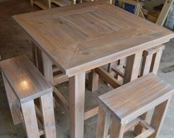 Rustic Pub Table W 4 Barstools