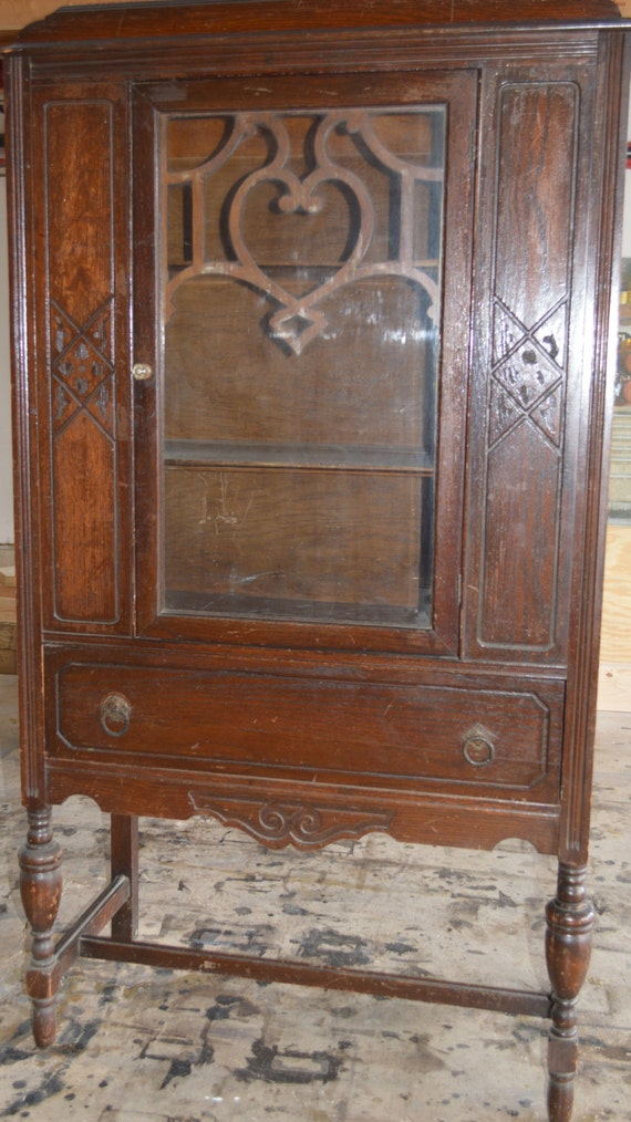 Antique Oak China Cabinet - Antique Oak China Cabinet Etsy