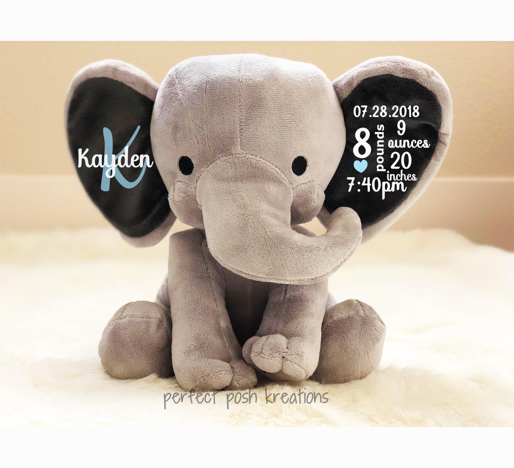 Baby Boy Birth Stat Elephant Birth Announcement Elephant