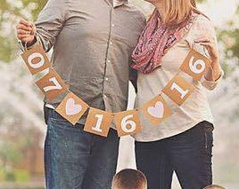 Sale! Wedding Banner Save The Date Banner wedding announcement banner Wedding Date Banner Engagement Prop Engagement Party Date Sign photo p