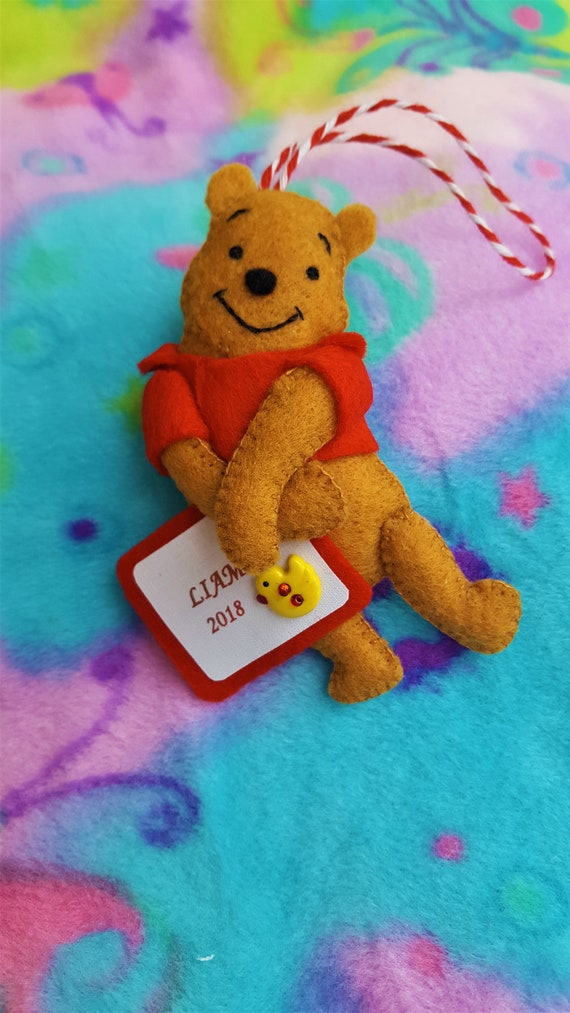Winnie The Pooh Christmas.Winnie The Pooh Christmas Ornament Or Baby Shower Gift Disney Felt Christmas Ornament Handmade Babys First Ornament Can Personalize