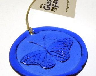 Recycled glass butterfly suncatcher, butterfly ornament, window art