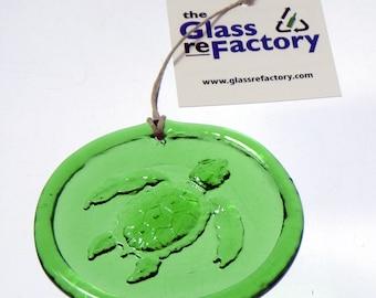 Recycled glass sea turtle suncatcher, sea turtle ornament, window art