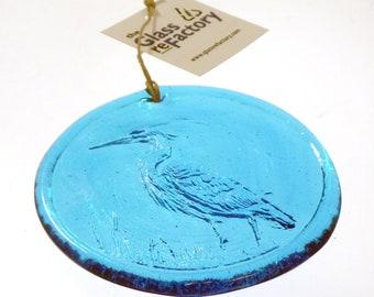 Blue Heron recycled glass suncatcher, window ornament