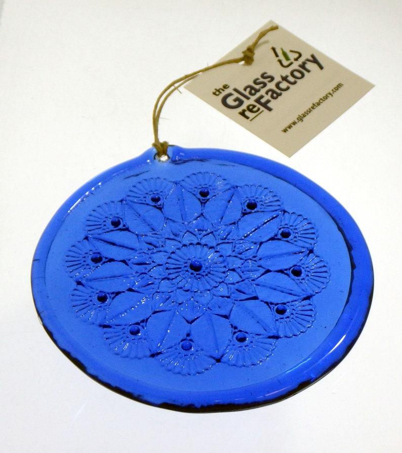 Mandala recycled glass suncatcher window ornament royal blue