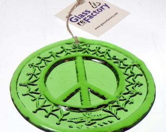 Peace Sign recycled bottle suncatcher, window ornament