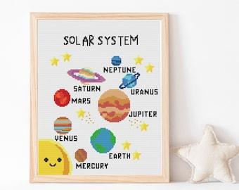 Modern Cross Stitch, Cross stitch, PDF, pattern, homeschool Solar System, Mercury, Venus, Earth, Mars, Jupiter, Saturn, Uranus, Neptune