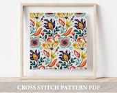 Folk Flowers Cross Stitch Pattern, modern cross stitch, (Digital Download - PDF), Cross Stitch Chart , floral patterns, floral embroidery