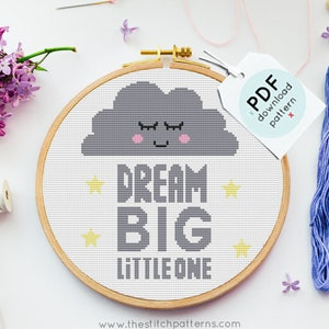 Rainbow Cross Stitch Pattern PDF Set Hot Air Balloon /& Kite Whimsical Cloud Tree