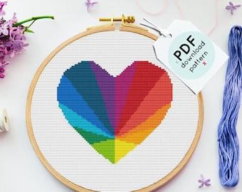 Modern cross stitch pattern, Heart rainbow cross stitch pattern, Heart cross stitch pattern, Modern wall art, cross stitch PDF, Embroidery
