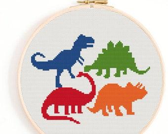 Dinosaur team, Cross Stitch Pattern Chart, Quirky Cross Stitch Pattern, counted cross stitch Chart, Thestitchpatterns, embroidery dinosaur